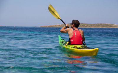 Sea kayaking around Antiparos