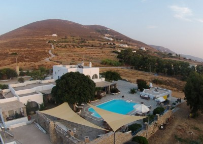Swimming pool and bbq aerial view