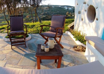 Modern Cycladic apartment patio quite garden view