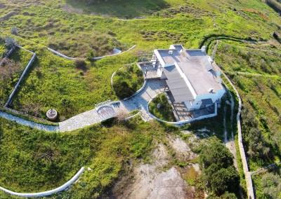 Aerial view cottage house Paros